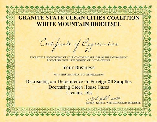 White Mountain Biodiesel Certificate of Appreciation program
